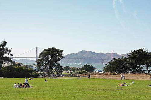 View of the Golden Gate Bridge from Fort Mason, San Francisco