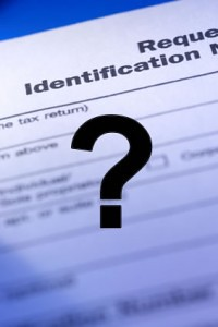 Tax form with question mark over it.
