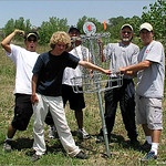 The first basket goes into the ground at West Arvada Course on July 8, 2004.