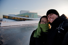 Angela and Morten in front of the opera house in Oslo