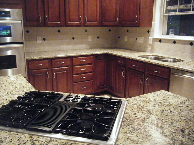 granite installation santa cecilia countertop and tile
