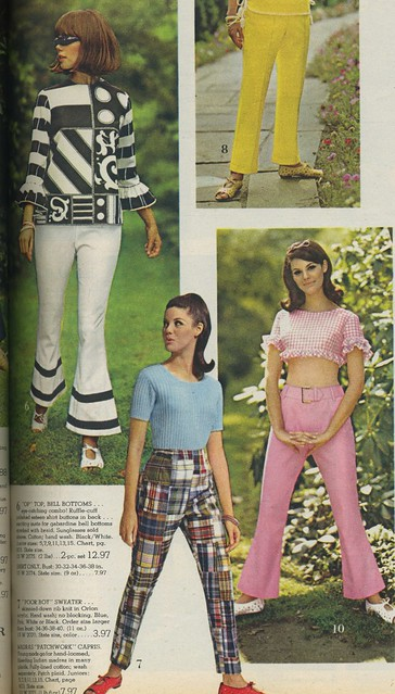 1966 Spiegel catalog Op top, bell bottoms, madras, gingham