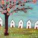 Houses Tree  Collage Landscape Painting Art by Sascalia