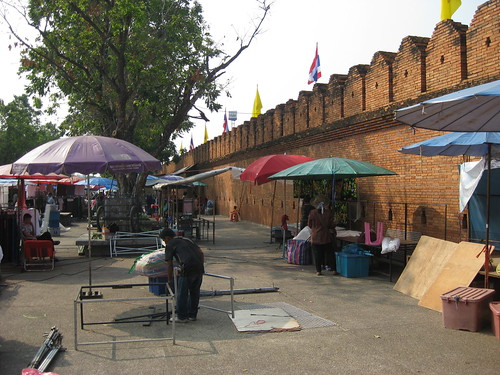 The wall surrounding old Chiang Mai