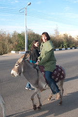 Sharon on her donkey