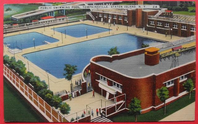 1940s staten island new york city vintage linen postcard tompkinsville pool flickr photo