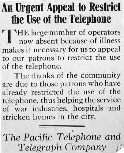 Telephone plea, 1918