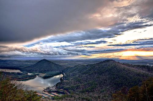 sunset lake mountains nikon tennessee nationalforest ocoee tva hdr cherokeenationalforest d90 lakeocoee photomatix