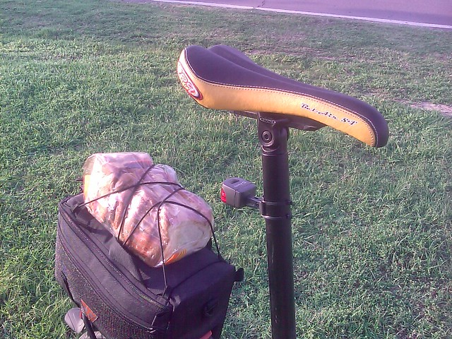 Load of bread on the back of my bike