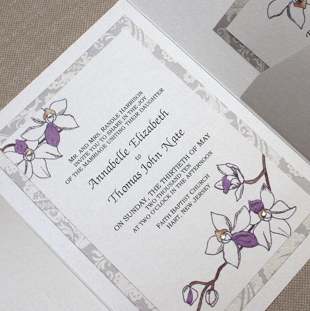 Very Very Elegant Plum Orchid Wedding Invitation