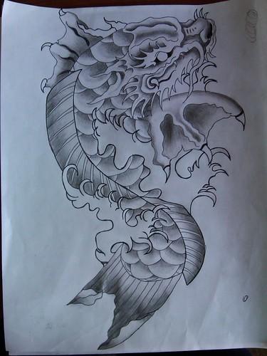 Koi dragon tattoo sketch images for Japanese koi dragon