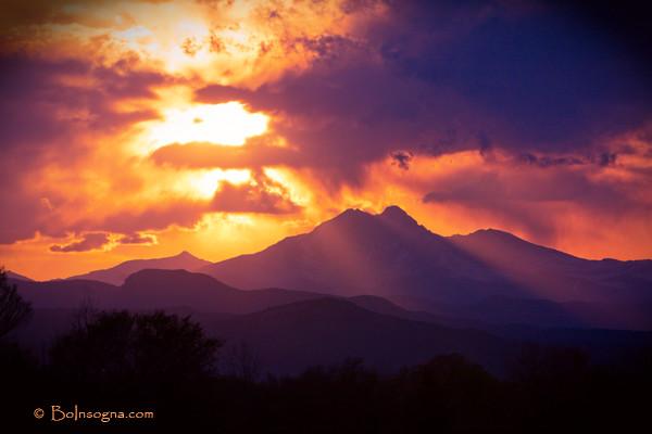 Rocky Mountains Twin Peaks Sunset