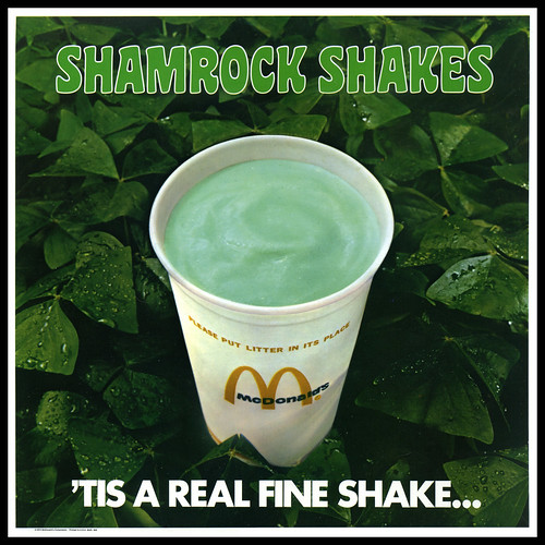 McDonald's - Shamrock Shakes sign - Tis a Real Fine Shake -  plastic in-store signage - 1974