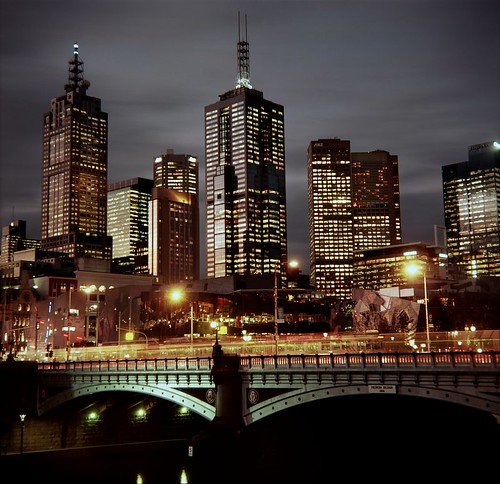 melbourne city skyline night cliché, squared