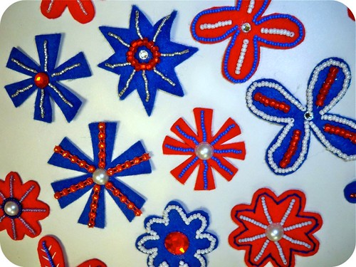 Patriotic Beaded Flowers