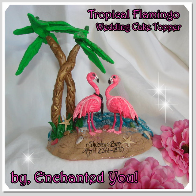 Tropical Beach Island Flamingo Cake Topper enchantedyounet