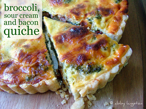 Broccoli, Sour Cream and Bacon Quiche