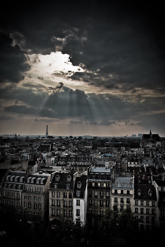roof light sky sunlight paris france clouds canon amazing intense view top awesome dramatic processing sunbeam captivating tristanlb