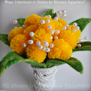 Sunny Bridal Bouquet Handmade Merino Felted Aspidistra Leaves Pearls Lily of the Valley and Craspedia Billy Balls wrapped with Silk Chord in White Yellow and Green