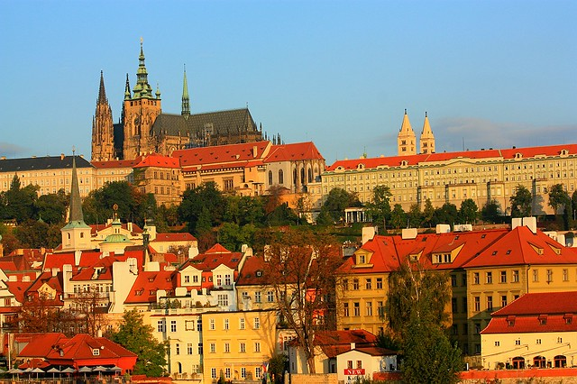 Golden light at dawn, Hradcany, Prazsky hrad, Prague castle, Mala Strana, Little Quarter, Karluv Most, Charles Bridge, Praha