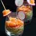 salmon ceviche with alfalfa sprouts and white raddish pickle