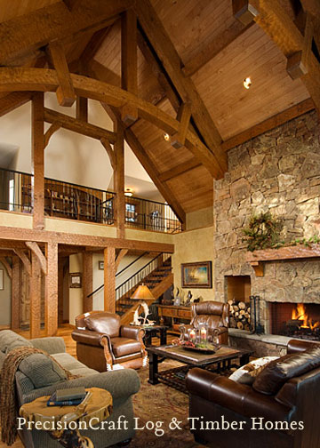 A precisioncraft timber frame home great room located in for Timber frame great room