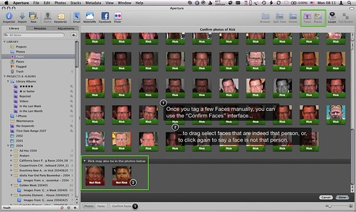 Screenshot of Aperture 3 Confirm Faces Interface.