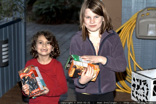 taking delivery of six boxes of girl scout cookies