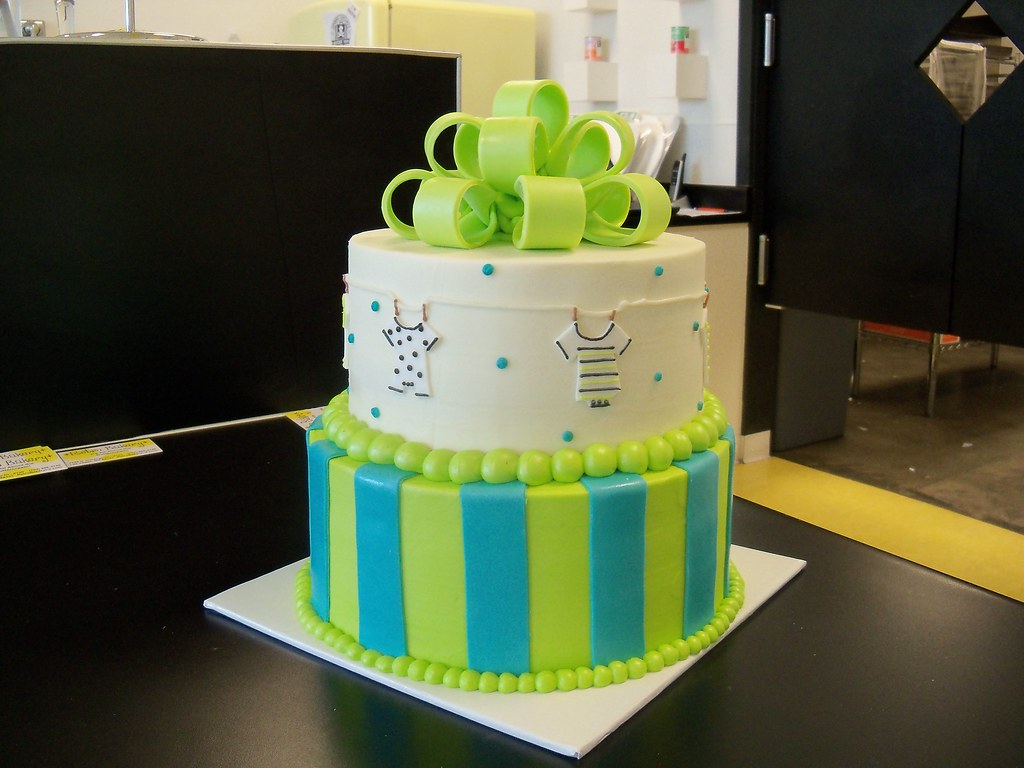 Green And Blue Baby Boy Shower Cake A Photo On Flickriver