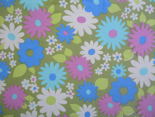 Pink, White & Blue Flowers on Green Background Vintage Textile