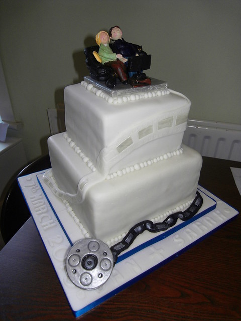 Film themed Wedding Cake 2 tiered chocolate cake top tier gluten and wheat