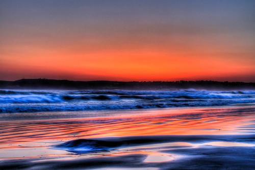 ocean california ca sunset red sky sun reflection beach wet water reflections sand san waves sandy diego sd coronado hdr sandiegoe