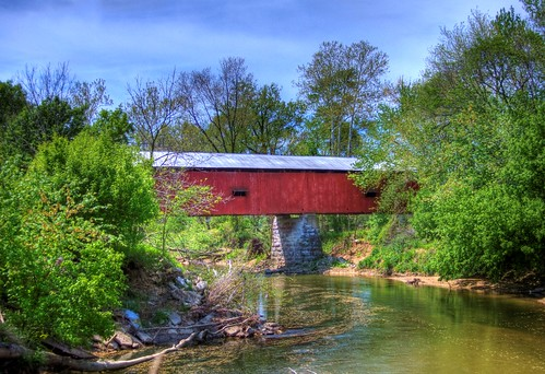 bridge creek landscape stream country coveredbridge putnamcounty