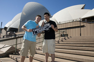 Brad ('05) and Howard ('09) at the Sydney Opera House in Sydney, Australia