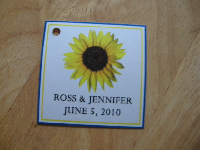 Blue Yellow Sunflower Wedding Favor Hang Tag