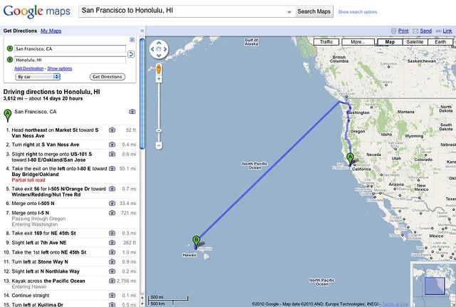 Google Maps California To Hawaii  Step 13 Is A Doosie