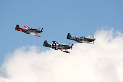 3 P51 Mustang's Flying In Formation Above Payne Field
