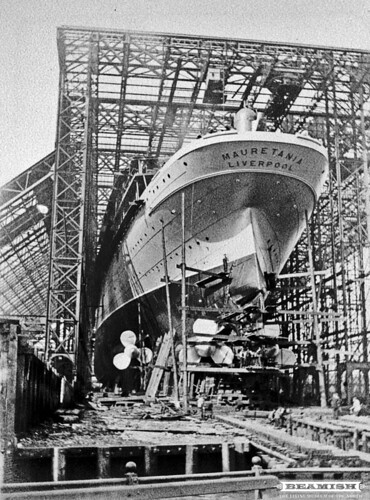 Mauretania on the slipway at Swan Hunters - Wallsend, Newcastle
