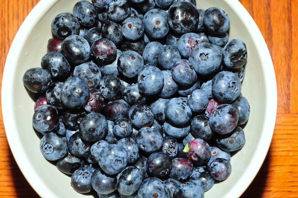 bowl of blueberries color perception