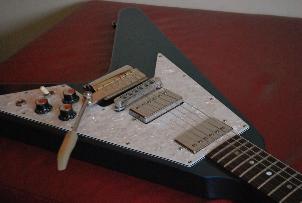 2007 Gibson Flying V - Vibrola, Burstbucker Pro Pickups, Lake Placid Blue