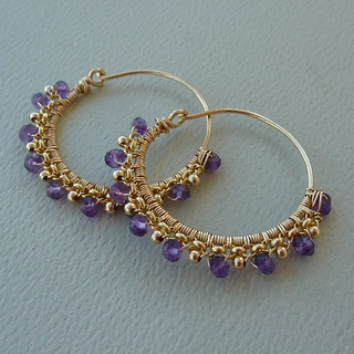 Gold and Amethyst Tribal Hoops