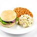 Turkey Burger with Baked Beans and Potato Salad