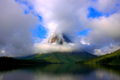 IMG_1638 Mount Sinopah in the Clouds, Summer Morning, Glacier National Park