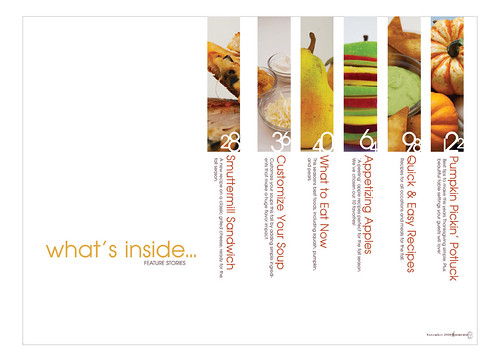 magazine spread  table of contents  features