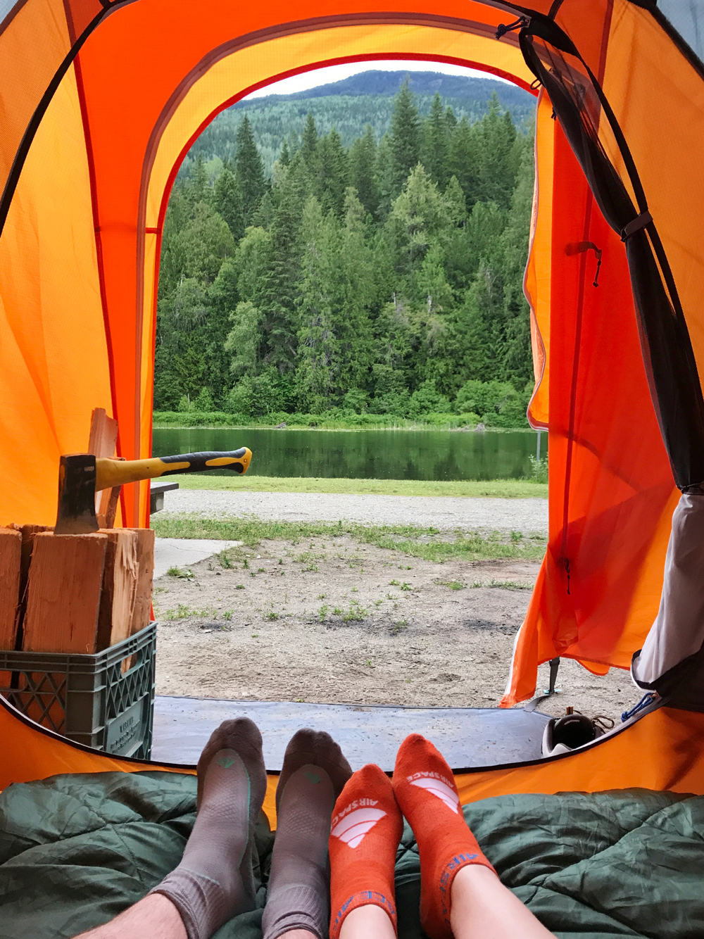 Camping at Williamson Lake campground in Revelstoke, British Columbia