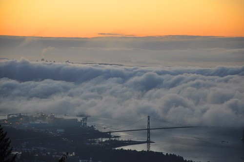 fog vancouver clouds sunrise lookout cypress lionsgatebridge cypressmountain explored travelsofhomerodyssey