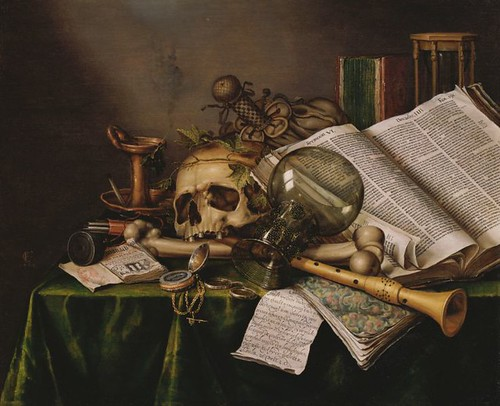 Collier, Edward (1640c.-1710) - 1663 Vanitas - Still Life with Books and Manuscripts and a Skull (National Museum of Western Art, Tokyo) by RasMarley