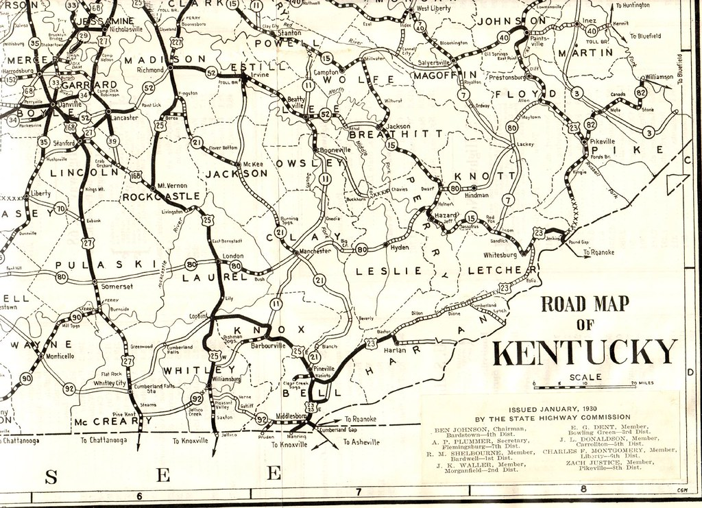 1930 Road Map of Kentucky | Southeast section of State Map P… | Flickr