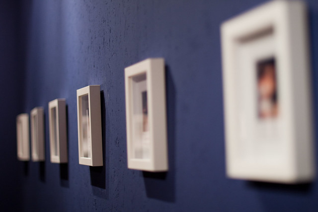 Square pictures at an exhibition