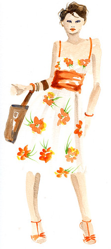 Orange Flowers Fashion Illustration